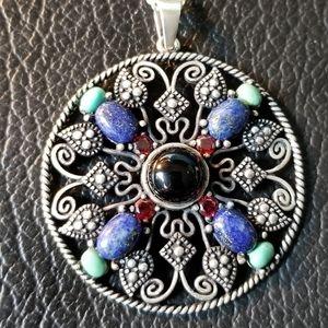 925 Medallion with Onyx Garnet Lapis & Turquoise